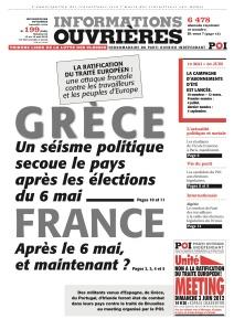 La Une d'Informations Ouvrières à paraître ce 10 mai 2012