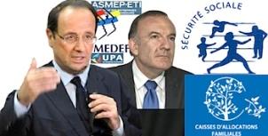 Allocations familiales cortisations sociales Hollande patronat