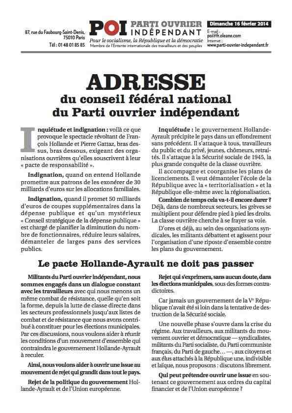 Déclaration CFN POI 16 fevrier 2014-rd