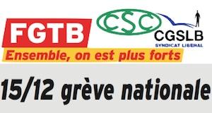 Belgique appel grève nationale 15décembre2014