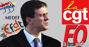 Dialogue social réforme Valls medef syndicats